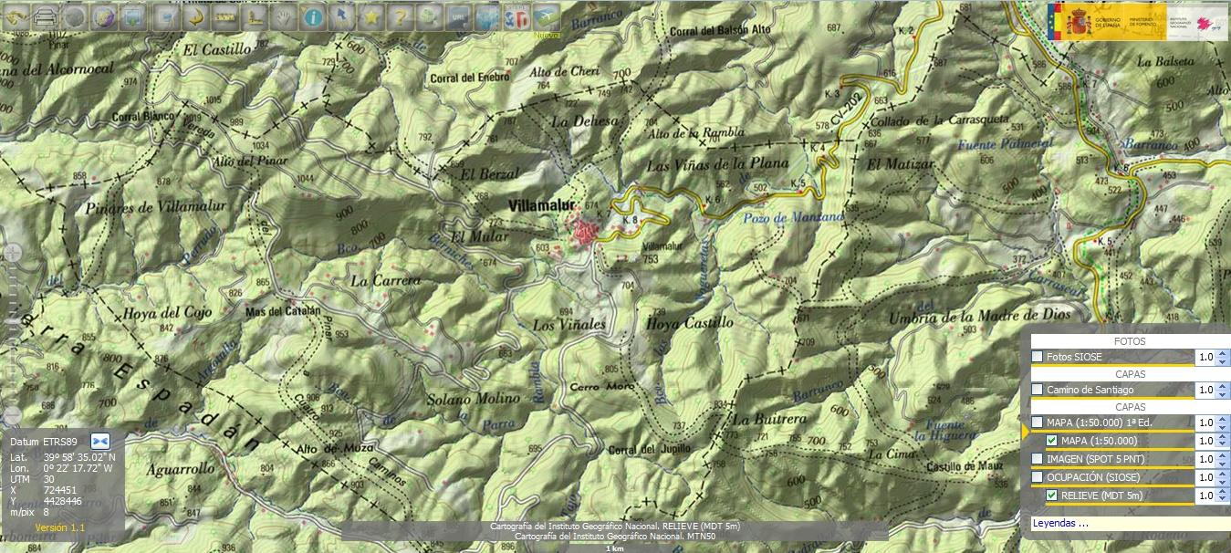 Detalle mapa IGN 1:50000